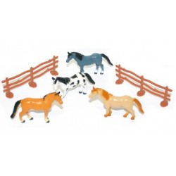 Zvířátka - koně s ohradou v sáčku