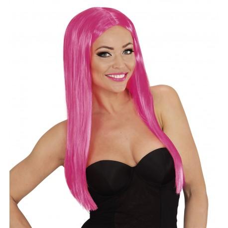 Paruka Glamour růžová, dlouhá