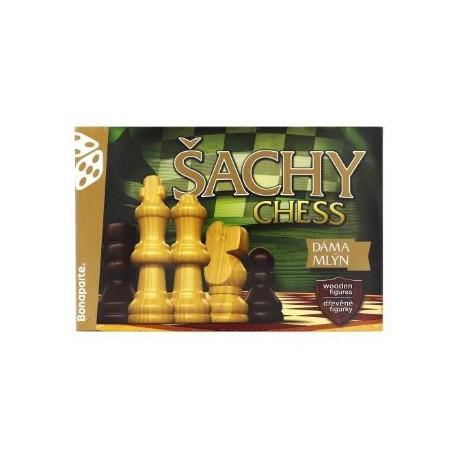 Šachy, dáma, mlýn - dřevěné