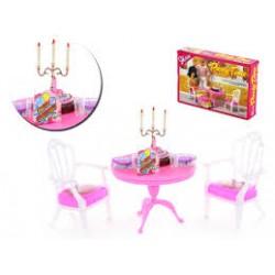 Nábytek pro barbie - Stůl s křesílky