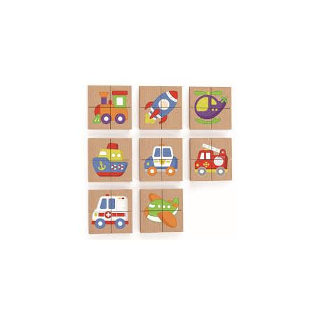 Magnetické puzzle - dopravní prostředky , dřevěné