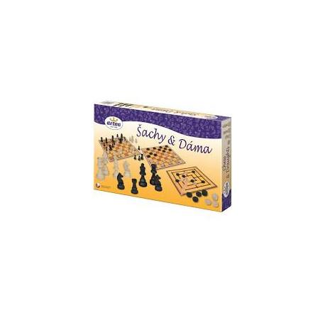 Šachy s dámou dřevěné