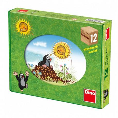 Kostky kubus Krtek/Krtečkův rok dřevo 12ks v krabici