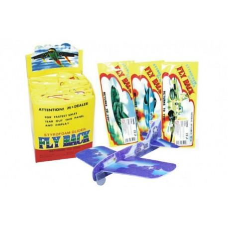 Letadlo házecí polystyren/dřevo model 20cm asst 4 druhy v sáčku